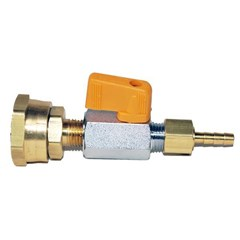 "Hose Barb 3/16"" to G Hose F w/ball valve"
