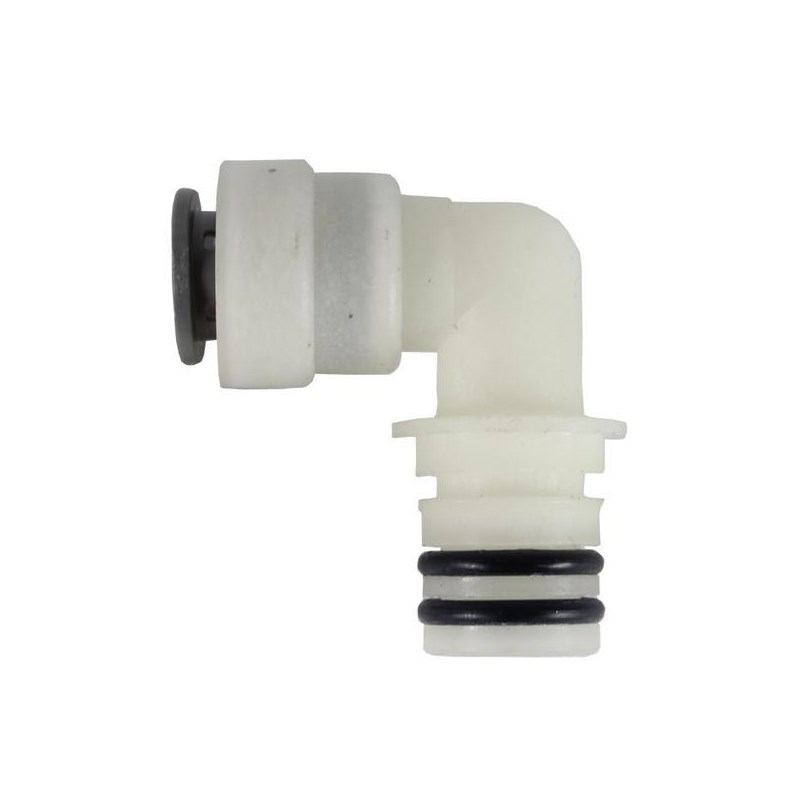 Hose Barb Angled 1/2in PushFit to 3/4in Slide Port