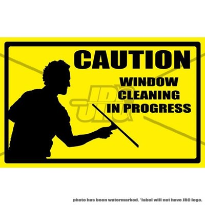 Window Cleaning In Progress Label