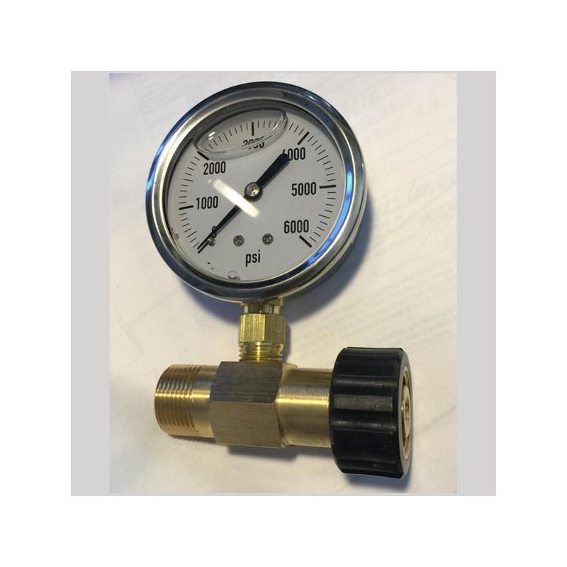 M22 Pressure Gauge 0 to 6000PSI Brass