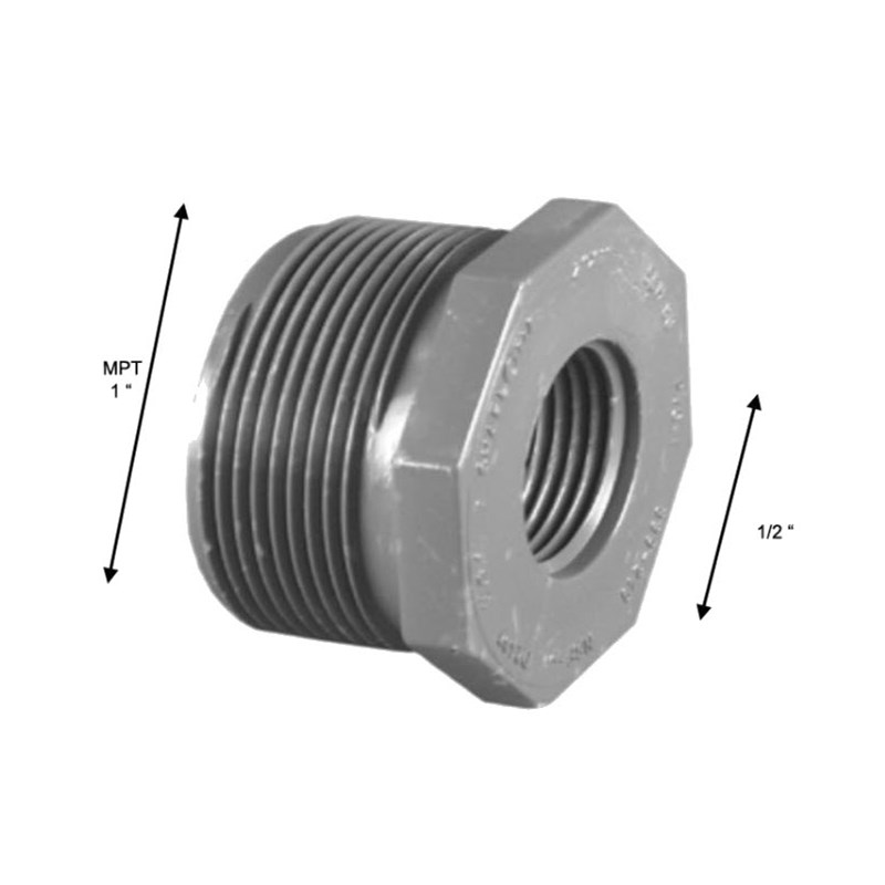 Reducing Bushing 1in MPT to 1/2in FPT PVC Schedule 80 Image 1