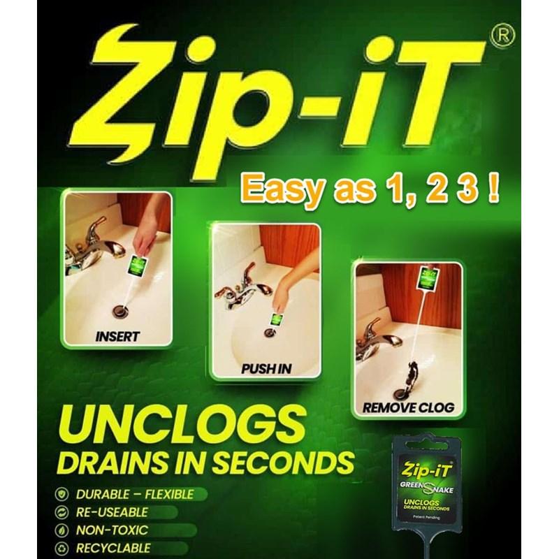 Zip-It Green Snake Drain Cleaner Image 1