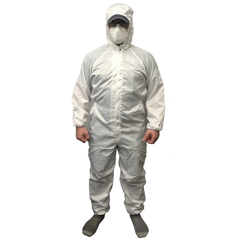 Coverall White Small Pinstriped with Hood Reusable Polyester Small