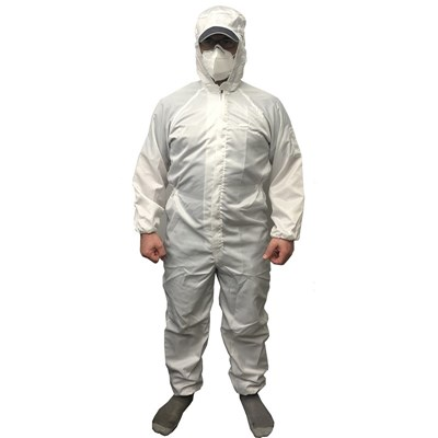 Coverall White Medium Pinstriped with Hood Reusable Polyester